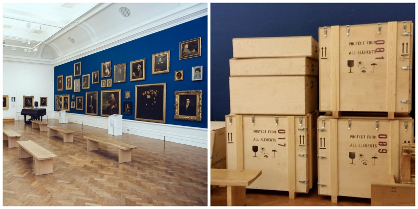 A photograph showing the art gallery being packed up